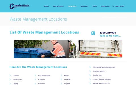 Screenshot of Locations Page premierwaste.com.au - Waste Management Locations | Premier Waste Management - captured Jan. 28, 2017
