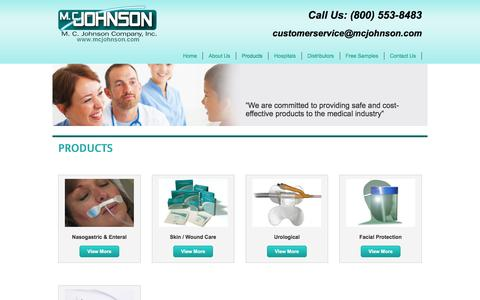 Screenshot of Products Page mcjohnson.com - Products - captured Nov. 17, 2016