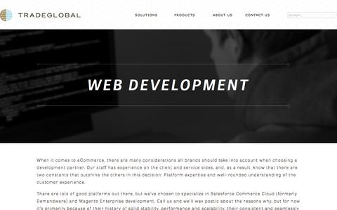 Screenshot of Services Page tradeglobal.com - Web Development for E-Commerce | TradeGlobal® - captured Feb. 20, 2020