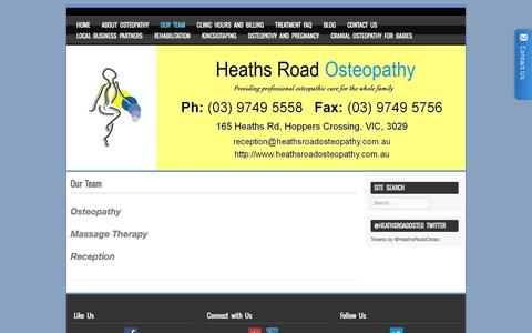 Screenshot of Team Page heathsroadosteopathy.com.au - Our Team | Werribee | Heaths Road Osteopathy - captured Dec. 8, 2015