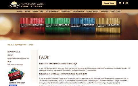 Screenshot of FAQ Page chukchansigold.com - FAQs - Chukchansi Gold Resort & Casino - captured Nov. 5, 2016