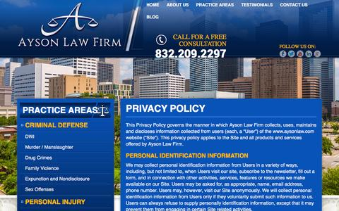 Screenshot of Privacy Page aysonlaw.com - Privacy Policy - Ayson Law Firm - captured Feb. 6, 2016