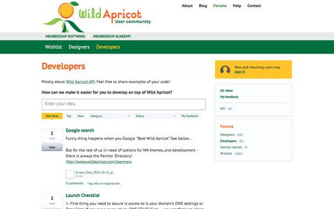 Screenshot of Developers Page wildapricot.com - Developers: Hot (35 ideas) – Wild Apricot Forums - captured Oct. 13, 2016