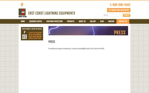 Screenshot of Press Page ecle.biz - Lightning Protection News & Press | ECLE - captured Sept. 26, 2018