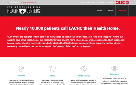 Screenshot of Services Page lachc.com - Services - lachc - captured Feb. 1, 2016