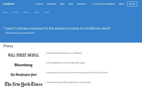 Screenshot of Press Page coinbase.com - Coinbase Press - captured July 20, 2014