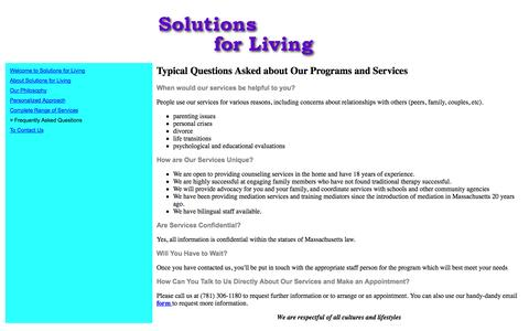Screenshot of FAQ Page solutionsforliving.org - Frequently Asked Questions - captured Oct. 9, 2014