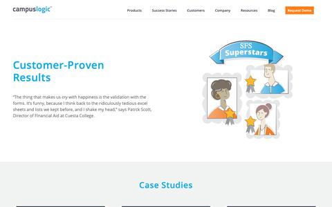 Screenshot of Case Studies Page campuslogic.com - Case Studies - CampusLogic - captured March 2, 2019