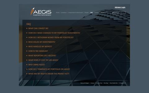 Screenshot of FAQ Page aegis.co.nz - FAQ - AEGIS Investment Administration - captured Sept. 30, 2014