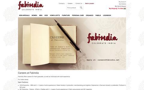 Screenshot of Jobs Page fabindia.com - Careers  � Fabindia.com - captured Jan. 8, 2016