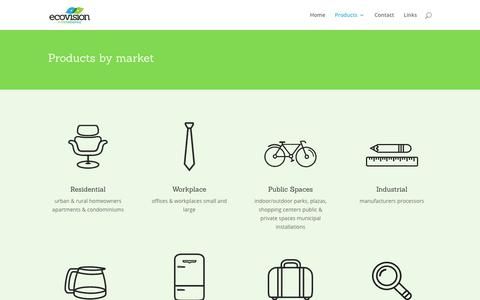 Screenshot of Products Page ecovisionenvironmental.com - Products | Ecovision Environmental - captured Nov. 10, 2018