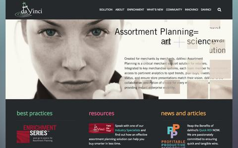 Screenshot of Home Page davinci-retail.com - daVinci Assortment Planning - captured Sept. 30, 2014