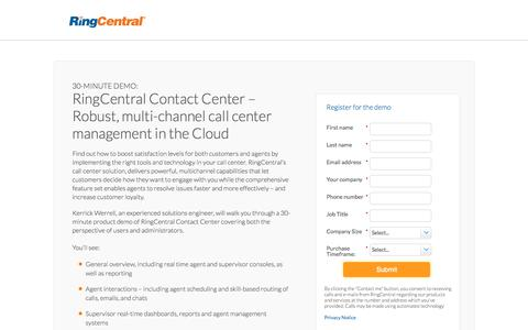 Screenshot of Landing Page ringcentral.com - RingCentral-Complete Cloud Communication System - captured Jan. 20, 2018