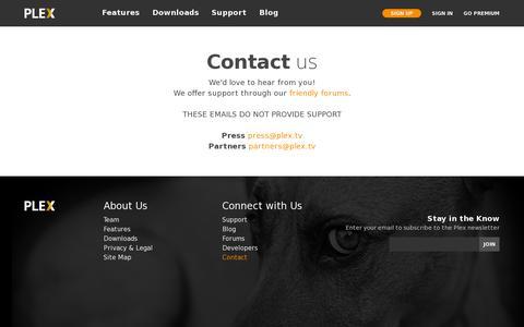 Screenshot of Contact Page plex.tv - Contact Plex - the Most Comprehensive Media Server - captured July 20, 2014