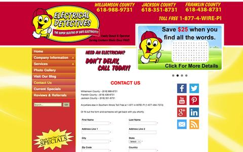 Screenshot of Contact Page electricaldetectives.com - Contact Us - Electrical Detectives - captured Sept. 29, 2014