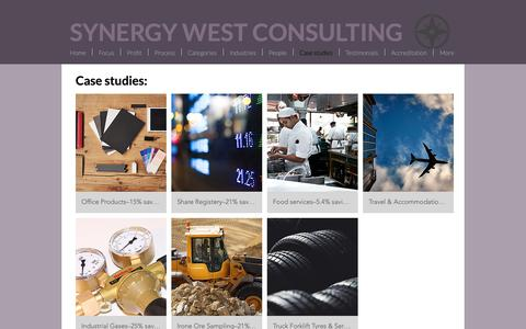 Screenshot of Case Studies Page synergywest.com.au - mysite | Case studies - captured Oct. 18, 2018