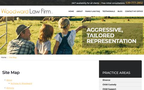 Screenshot of Site Map Page wtlawok.com - Site Map | Woodward Law Firm PLLC | Tulsa, Oklahoma - captured Oct. 18, 2018