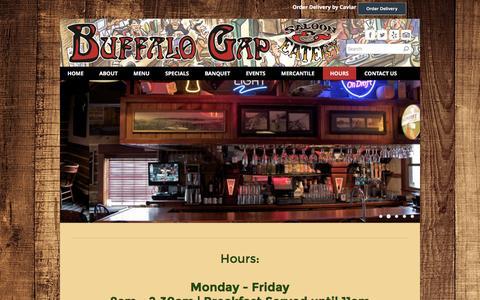 Screenshot of Hours Page thebuffalogap.com - Hours - Buffalo Gap - captured Nov. 23, 2016