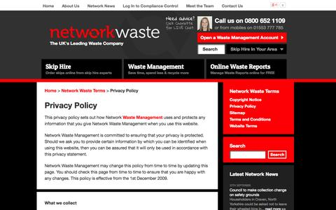 Screenshot of Privacy Page networkwaste.co.uk - NETWORK WASTE | Privacy Policy - captured Oct. 9, 2014
