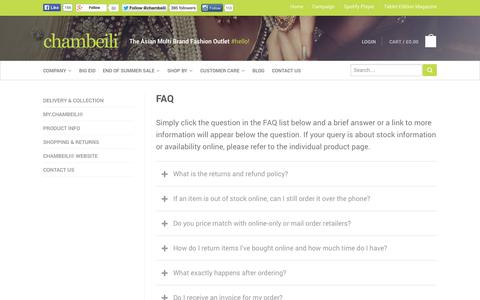 Screenshot of FAQ Page chambeili.com - FAQ | chambeili® - captured Sept. 30, 2014