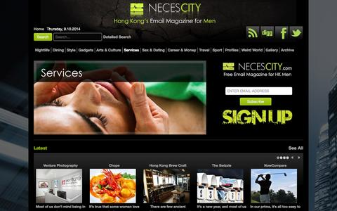 Screenshot of Services Page necescity.com - Services - captured Oct. 9, 2014