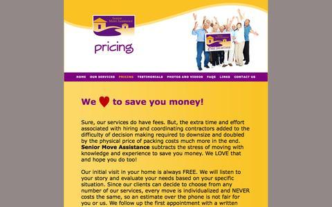 Screenshot of Pricing Page seniormoveassistance.com - PRICING - captured Oct. 7, 2014