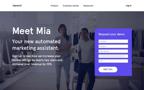 Screenshot of Landing Page Demo Page signpost.com - Meet Mia | Signpost - captured April 4, 2017