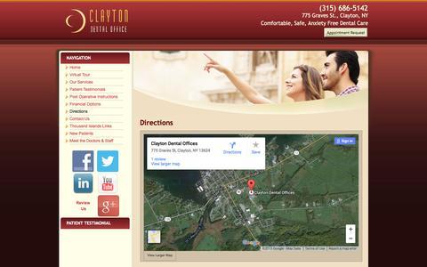 Screenshot of Maps & Directions Page claytondentaloffice.com - Clayton Dental Office & Family Dentistry Directions   Clayton, NY Dental Office, Dr. Scott LaClair - captured Dec. 9, 2015