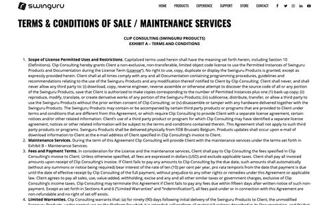 Screenshot of Terms Page swinguru.com - TERMS & CONDITIONS OF SALE / MAINTENANCE SERVICES - Swinguru | Markerless 3D Swing Analyzers - captured Sept. 30, 2018