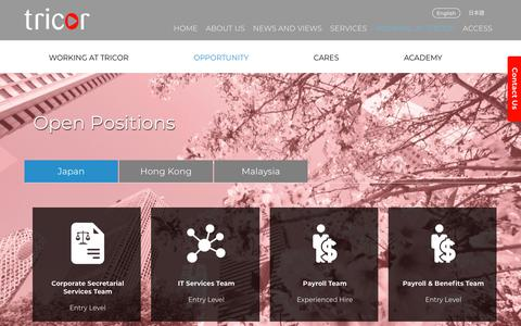 Screenshot of Jobs Page tricor.co.jp - Open Positions - Tricor Japan | Welcome to Japan - captured July 10, 2018