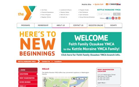 Screenshot of Contact Page Locations Page kmymca.org - Kettle Moraine YMCA - captured Oct. 23, 2014