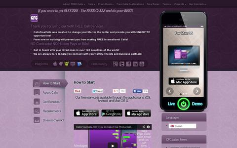 Screenshot of Home Page callsfreecalls.com - CFC | Free International Calls and SMS for iPhone, iPad, Android and Mac OS X - captured July 17, 2014