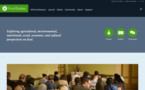 Screenshot of Home Page food-studies.com - Food Studies - captured March 3, 2016
