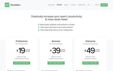 Screenshot of Pricing Page pandadoc.com - PandaDoc Pricing - captured Feb. 28, 2016