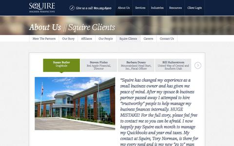 Screenshot of Testimonials Page squire.com - Squire Clients | Squire - captured Oct. 24, 2017
