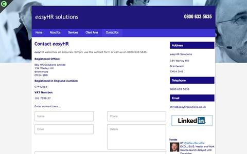 Screenshot of Contact Page easyhrsolutions.co.uk - Contact Us | Human Resources Consultant  | London | EasyHR Solutions - captured Oct. 3, 2014