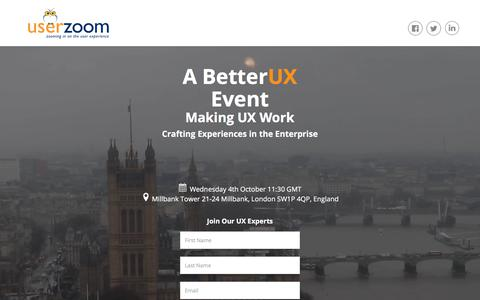 Screenshot of Landing Page userzoom.com - Making UX Work London Registration - captured Oct. 24, 2017