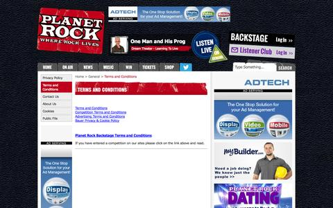 Screenshot of Terms Page planetrock.com - Terms and Conditions | General | Planet Rock - captured Sept. 19, 2014