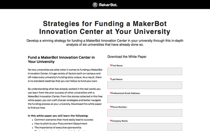 Strategies for Funding a MakerBot Innovation Center at Your University