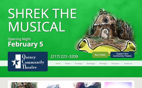 Screenshot of Home Page 1qct.org - Home | Quincy Community Theatre - captured Feb. 2, 2016
