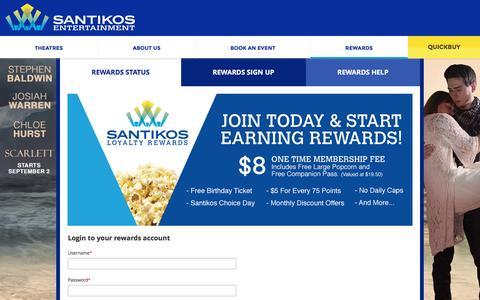Screenshot of Login Page santikos.com - Loyalty - captured Aug. 30, 2016