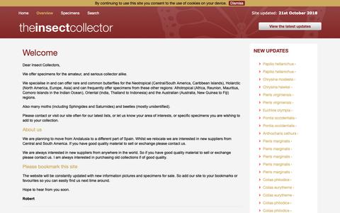 Screenshot of About Page Privacy Page theinsectcollector.com - Overview - captured Oct. 31, 2018