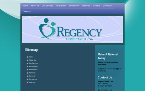 Screenshot of Site Map Page regencyhcs.com - RegencyHCS  - Home - captured Oct. 7, 2014