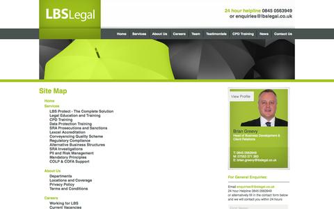 Screenshot of Site Map Page lbslegal.co.uk - Site Map - LBS Legal - captured Sept. 26, 2014