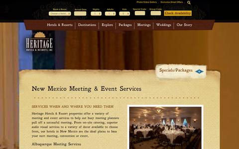 Screenshot of Services Page hhandr.com - Meeting Services in New Mexico - Albuquerque, Santa Fe, Las Cruces | Heritage Hotels & Resorts - captured Oct. 2, 2014