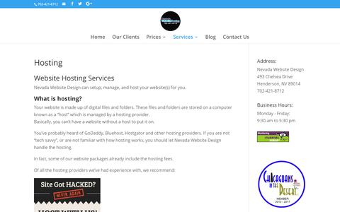 Hosting | Nevada Website Design | Henderson | Las Vegas