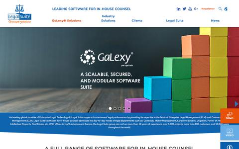 Screenshot of Home Page legal-suite.com - A Full Range Of Software For In-House Counsel - Legal Suite - captured July 17, 2018
