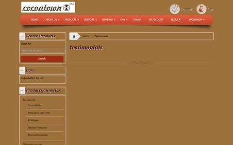 Screenshot of Testimonials Page cocoatown.com - Testimonials - Enabling chocolate makers affordablyEnabling chocolate makers affordably - captured Dec. 10, 2015