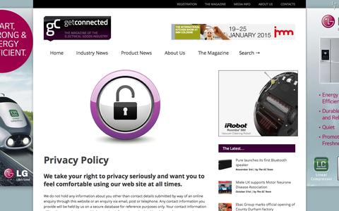 Screenshot of Privacy Page gcmagazine.co.uk - Get Connected : The Magazine of the Electrical Goods IndustryPrivacy Policy - Get Connected : The Magazine of the Electrical Goods Industry - captured Nov. 3, 2014