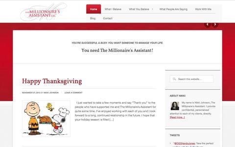 Screenshot of Home Page assistantnikki.com - The Millionaire's Assistant - captured Oct. 1, 2014